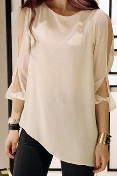 Cut Out Shoulder White Chiffon Shirt ==