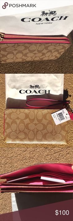 Coach wallet Signature CC in a soft brown with hot pink piping and gold zippers. Double wallet very spacious and multiple card pockets. Coach Bags Wallets