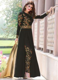 Buy latest salwar kameez from our different range of salwar suits online. Grab this faux georgette black pant style designer salwar kameez online. Pakistani Dress Design, Pakistani Dresses, Indian Dresses, Indian Outfits, Designer Salwar Suits, Designer Dresses, Designer Anarkali, Gown Designer, Fashion Pants