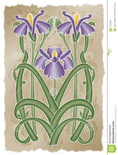 art nouveau iris design   Vector art in Illustrator 8. Yellow chrysanthemums in an art nouveau ...