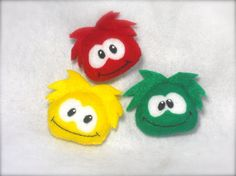 Set of 3 Three Club Penguin Puffle Felt Plushies by LilHappyThangs, $5.00
