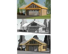 Three ways of showing the same garage in the craftsman style with a side carport. Backyard Buildings, Third Way, Green Garden, Craftsman Style, Garage, Home And Garden, Design Ideas, Cabin, House Styles