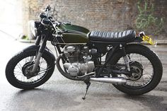 Old school Honda CB350 cafe racer motorcycle.
