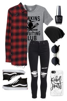 """""""Stranger Things"""" by speedy-squirrel on Polyvore featuring TKO Tees, AMIRI, Vans, Casetify and OPI"""