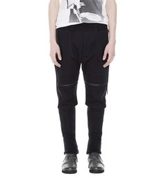 DROPPED CROTCH CARGO JOGGERS WITH PATCH POCKETS ON KNEES.