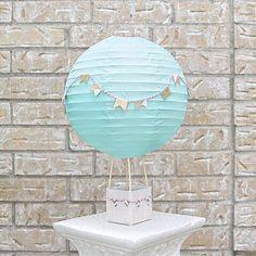 Hot Air Balloon Decoration - Baby Shower Centerpiece Decoration - Bridal Shower Decor - Wedding Decor - Nursery Decor - Aqua