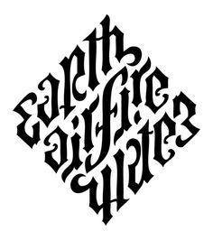 Diamond of natural elements - Angels and demons final ambigram    Earth  Air Fire  Water
