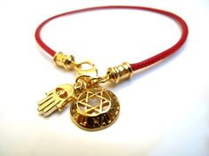 Kabbala red string 24k gold plated hamsa shema by Symbolinajewelry