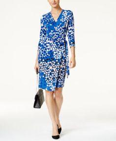 Anne Klein Dot-Print Faux-Wrap Dress   macys.com