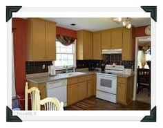 Kitchen has brand new granite countertops and tin type back splash