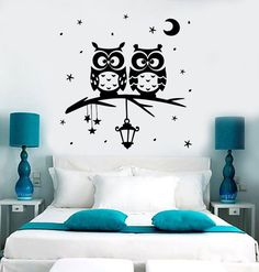 Wall Vinyl Decal Owl Tree Night Romantic Kids Nursery Children Decor 1392dz