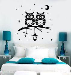 Wonderful Wall Vinyl Decal Owl Tree Night Romantic Kids Nursery By BoldArtsy