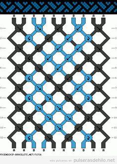 Patrón para pulsera de hilo con forma de trenza o de ola | Pulseras de Hilo | Todo para aprender a hacer pulseras de hilo con nudos