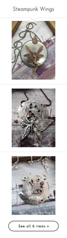 """Steampunk Wings"" by victorianmagpie ❤ liked on Polyvore featuring jewelry, vintage pocket watch, steam punk pocket watches, victorian jewelry, victorian pocket watches, steampunk pocket watches, necklaces, steampunk pocket watch necklace, engraved pocket watches and steampunk necklace"