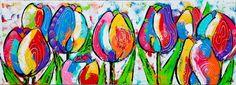 Vrolijk Schilderij Kleurrijke tulpen