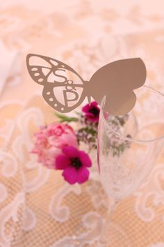 10 Personalised Wedding Papercut Butterfly Place Name Cards  £4.50