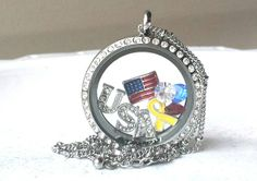 "Stonebridge Designs Glass Memory Lockets and Floating Charms - ""Support Our Troops"""