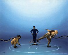 "COMBAT DE GEANTS - Giants combat - oil on canvas by Pascal Lecocq The Painter of Blue  16""x20"" 41x51cm 2002 lec613 private collection Niolon France.  http://ift.tt/1f2ZGp4. Published in Neptun (Russia 2003). #sumo #koi#art #blue #painterofblue #painting #painter #artist #contemporaryartcurator #artstack #artcartridge #artcollectae #glarify #theartdex #in #pint."