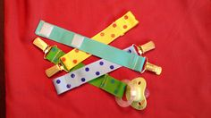 pacifier clips made with grosgrain ribbons