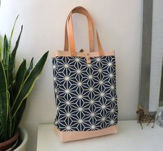 Japanese Cloth / Leather Tote Bag by CaramelLeatherCrafts on Etsy, $75.00
