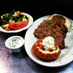 Ma Momma's House of Cornbread Chicken and Waffles- Special-Freshly made meat loaf, handmade creamed potatoes and healthy green salad