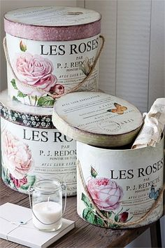 Divine and Delectable Hat Boxes! DIY:: Vintage French Shabby Storage created with mod Podge Tutorial ! Decoupage Vintage, Decoupage Box, Vintage Shabby Chic, Shabby Chic Style, Shabby Chic Decor, Vintage Style, Vintage Hat Boxes, Rose Hat, Pretty Box