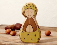 Chestnut  Gnome - Boy wood toy  - wooden birthday ring waldorf nature table figurine