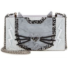 Karl Lagerfeld Choupette Minaudiere (9.820 RUB) ❤ liked on Polyvore featuring bags, handbags, clutches, silver, silver glitter purse, transparent purses, karl lagerfeld handbags, see through purse and glitter handbags