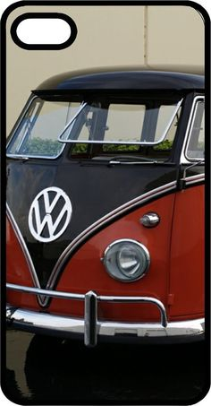 Black and Red Old VW Bus iPhone Case for iPhone 4 or by LisasBits