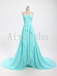 Sweetheart manual flowers chiffon evening gown