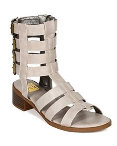 Bumper CD37 Leatherette Open Toe Multi Buckle Chunky Heel Gladiator Sandal  Taupe Size 65 >>> Read more reviews of the product by visiting the link on the image.