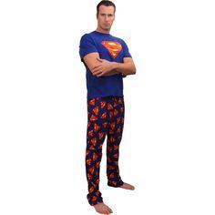 "Classic ""Superman"" Men's short-sleeve, long leg pajamas in Blue"