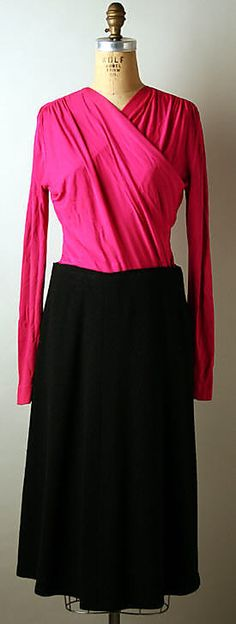 Black wool suit with hot pink silk blouse (without jacket), by Norman Norell, American, 1941.