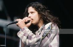 Singer-songwriter and guitarist Chris Cornell (1964 - 2017) performing with American rock group, Soundgarden at Feyenoord Stadion (De Kuip), Rotterdam, Netherlands, 23rd June 1992.