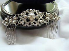 Bridal Hair Comb Wedding Hair Comb Rhinestone Hair by JewelryBox88, $39.00