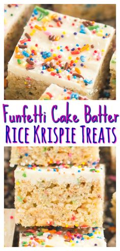 Cake mix is added right into these Funfetti Cake Batter Rice Krispie Treats, along with a heap of sprinkles! Cake mix is added right into these Funfetti Cake Batter Rice Krispie Treats, along with a heap of sprinkles! Rice Crispy Cake, Rice Krispie Cakes, Rice Krispy Treats Recipe, Rice Crispy Treats, Rice Krispies Treats, Funfetti Kuchen, Funfetti Cake, Köstliche Desserts, Delicious Desserts