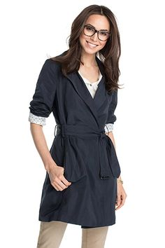 Stunning Esprit model wearing glasses. Esprit - soft taffeta trench coat at our Online Shop