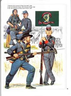 Top Left & Bottom Right 6th LA & 10th TN Irish Regiments (Confederate) American Civil War