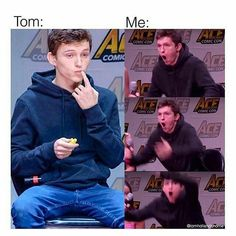 He is beauty he is grace sorry Ive been gone for so long guys but Im back! Lets share some love for Funny Marvel Memes, Marvel Jokes, Dc Memes, Funny Memes, Tom Holland Imagines, Tom Holand, Tom Holland Peter Parker, Tommy Boy, Marvel Actors