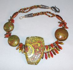 Autumn Crackle necklace with detachable brooch made for CraftWear 2011.  www.anndillon.com