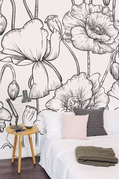 Freshen up your interiors with this stylish floral wallpaper design It s black and white theme is timeless and looks great with pops of colour Perfect for the bedroom or living room space White Interior Doors, Black And White Interior, Black And White Wallpaper, Black White, Palette Design, Flower Mural, Print Wallpaper, Bedroom Wallpaper, Wallpaper Designs