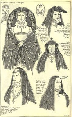 """Renaissance Europe, Chapter plate """"Mode in Hats and Headdresses"""" by R Turner Wilcox Historical Hairstyles, Medieval Hairstyles, Hat Hairstyles, Mode Renaissance, Renaissance Fashion, Historical Costume, Historical Clothing, Vintage Outfits, Vintage Fashion"""