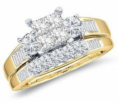 Princess Diamond Engagement Ring & Wedding Set 14k Yellow Gold (1 CT) Jewel Roses. $1043.00