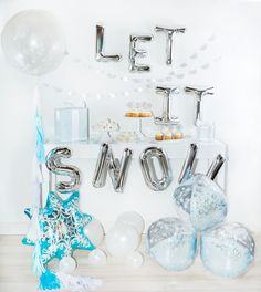 Add our Let it Snow Gold or Silver Mylar Letter Balloons to your Christmas or Holiday party! They make the perfect Christmas banner or holiday decoration for yo