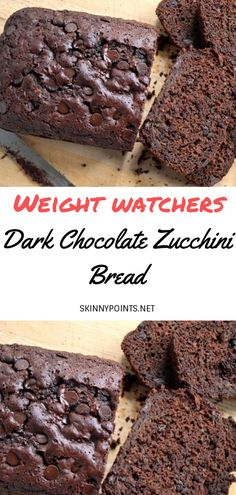 Dark Chocolate Zucchini Bread - my list of healthy foods Ww Desserts, Healthy Dessert Recipes, Chocolate Desserts, Dark Chocolate Recipes, Healthy Dark Chocolate, Chocolate Muffins, Chocolate Chocolate, Paleo Dessert, Fall Desserts