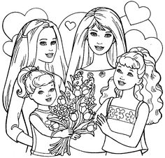 barbies siblings coloring pages