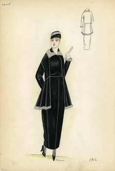 """Day dress, Chéruit, 1912. Black dress and jacket with white trim on collar, sleeves, and bottom of jacket; white gloves, matching black and white cap, and fan included. (Bendel Collection, HB 002-14)"", 1912. Fashion sketch. Brooklyn Museum, Fashion sketches. (Photo: Brooklyn Museum, SC01.1_Bendel_Collection_HB_002-14_1912_SL5.jpg)"