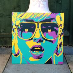 Pop Art 1, Pop hearts, pop art series  20 by 20 inches  Stencils & spray paints on canvas  New pop art series of paintings, this has been