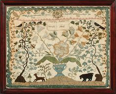Mary Roberts  Pictorial Pennsylvania Sampler, dated 1802  silk on linen, 17.5 x 22