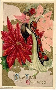 """"""" The Poinsetta Lady """" Vintage 1910 Samuel Schmucker Post Card. Published by John Winsch, a rendering by artist Samuel Schmucker with an embossed surface, DB-UNU with pencil writing on back, and in Excellent condition. Schmucker did not sign any of his Post Card rendering as he felt it was demeaning to his artistic talents. Karodens Vintage Post Cards at www.bonanza.com/booths/karoden"""